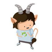 Chlapec se oblíká se jako znamení zvěrokruhu. kozoroh — Stock vektor