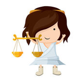 A girl dressed up like a sign of zodiac. Libra. — Stock Vector