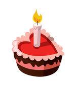 вкусный торт, в форме сердца, с зажженной свечой. — Cтоковый вектор