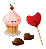 Valentine sweets, including lollypop, chocolate sweets and cupcake. — Stock Vector