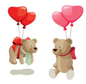 Light brown teddy bears with balloons. — Stockvektor