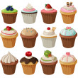 Set of delicious cupcakes. — Stock Vector