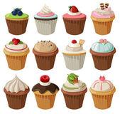 Conjunto de deliciosos cupcakes. — Vector de stock