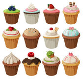 Set van heerlijke cupcakes. — Stockvector