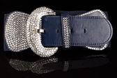 Navy blue fashion belt — Stock Photo