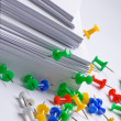 Push pins and paper — Stock Photo