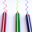 Color pencils with colorful lines - Stock Photo
