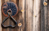 Wooden old door with vintage door handle — Stock Photo