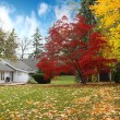 Canadian house in Autumn - Stock Photo