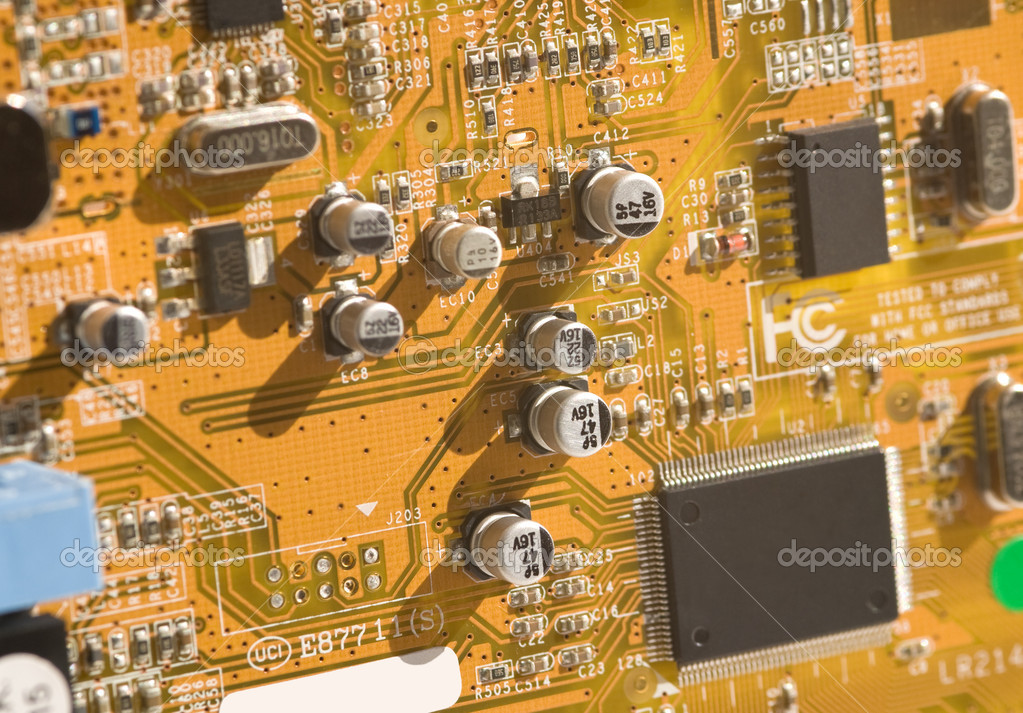 View of computer board with components and selective depth of field.  Stock Photo #9833191