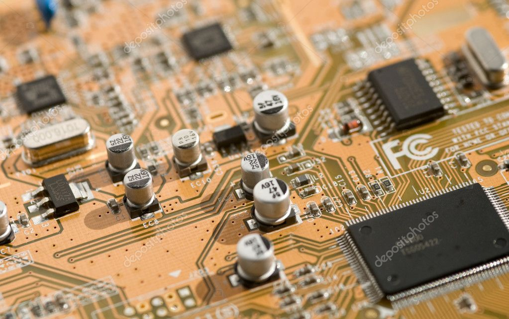 View of computer board with components and selective depth of field.  Stock Photo #9833309