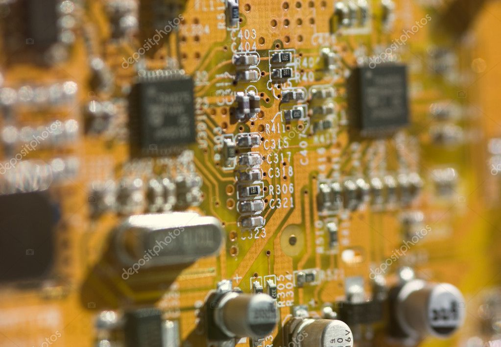 View of computer board with components and selective depth of field. — Stock Photo #9833333