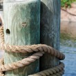Wooden beams fasten with a rope - Stock Photo