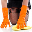 Sexy girl in stockings cleaning floor — Stock Photo #10458520