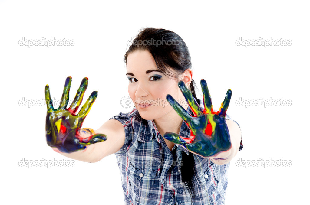 Colored sexy woman's hands — Stock Photo #8994877