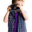 Little kid photographer — Stock Photo