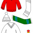 Stock Photo: Winter clothing - coloring book