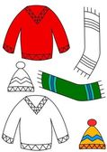 Winter clothing - coloring book — Stock Photo