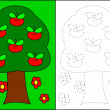 Stock Photo: Coloring - tree with apples