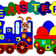 Royalty-Free Stock Photo: Easter bunny and train
