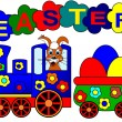 Easter bunny and train — Stock Photo