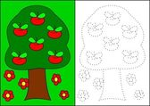 Coloring - tree with apples — Stock Photo