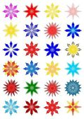Colored snow flakes — Stock Photo