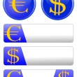 Icon theme with the euro and dollar — Stock Photo