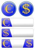 欧元与美元的图标主题 — 图库照片