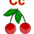 Letter C cherry — Stock Photo