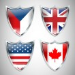 Set of Shield Flags 01 — Stock Vector #10536716