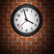 Stock Vector: Black Clocks on brick wall