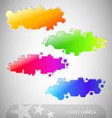 Colorful Crazy Labels — Stock Vector
