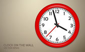 Red Clocks on brown wall — Stock Vector