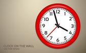 茶色の壁に赤い時計 — ストックベクタ