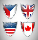 Set of Shield Flags 01 — Stock Vector