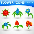 Flower icons set — Stock Vector