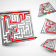 3D labyrinths — Stock Vector