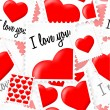 Seamless valentine stamps pattern with hearts — Stock Vector