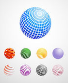 Colorful Globes Icons — Stock Vector