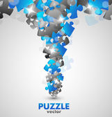 Puzzle Blue Design — Stock Vector