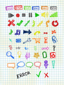 Hand Drawn Icons — Stock Vector