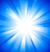 Sunburst on blue background with water drops — Stock Vector