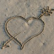 Heart in Sand — Stock Photo