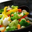 Stock Photo: Cook vegetables in chinese wok