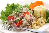 Ceviche, seafood dish, peruvian cuisine — Stock Photo