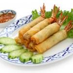 Shrimp spring rolls, thai cuisine — Stock Photo