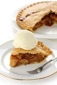 Homemade apple pie with ice cream — Stock Photo