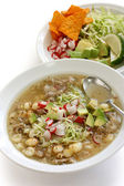White pozole, mexican soup cuisine — Stock Photo