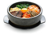 Bibimbap in a heated stone bowl, korean dish — 图库照片